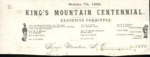 King's Mountain Centennial Executive Committee letterhead