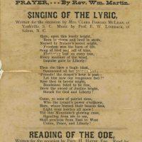 Oct 7, 1880 Celebration Programme