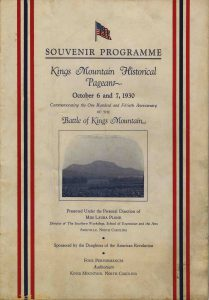 Kings Mountain Historical Pageant Souvenir Programme 1930